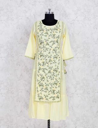 Yellow cotton sharara suit