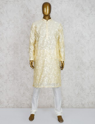 Yellow cotton silk fabric festive kurta suit