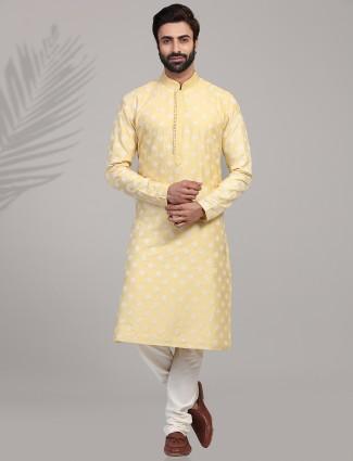Yellow cotton silk farbic festive wear kurta suit