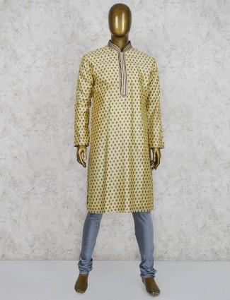 Yellow cotton silk festive function kurta suit