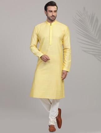 Yellow cotton silk festive occasion kurta suit