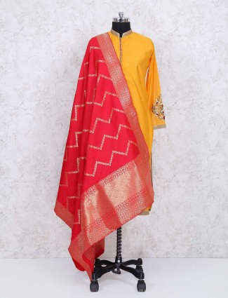 Yellow cotton silk festive sharara suit