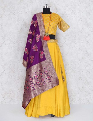 Yellow cotton silk festive wear lehenga choli