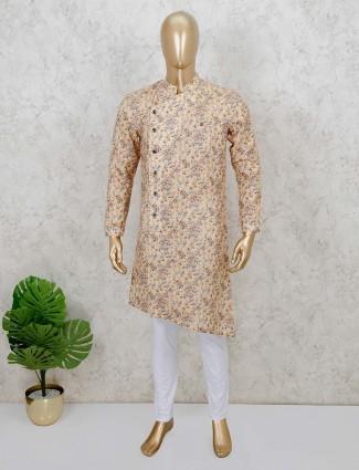 Yellow cotton silk festive wear printed kurta suit