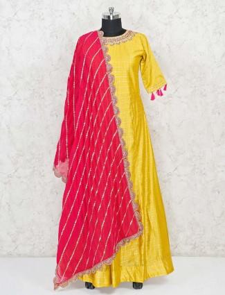 Yellow cotton silk floor length anarkali suit festive wear