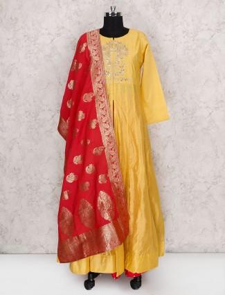 Yellow cotton silk lehenga cum salwar suit