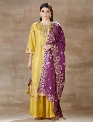 Yellow Cotton silk Palazzo Suit For Festivals