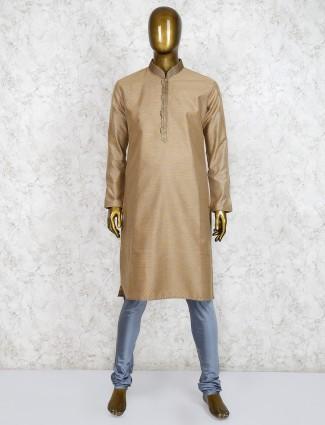 Yellow cotton silk party wear kurta suit