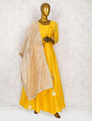Yellow cotton silk punjabi salwar suit