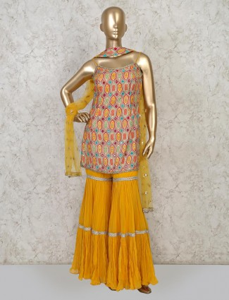 Yellow cotton silk punjabi sharara set