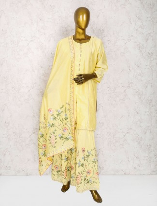 Yellow cotton silk punjabi sharara suit