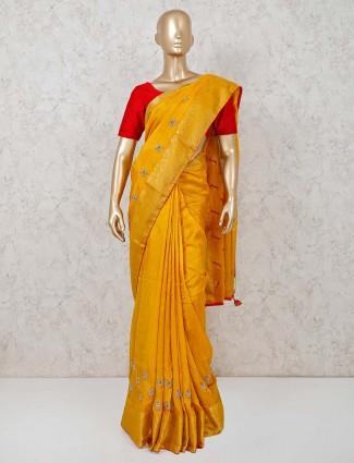 Yellow cotton silk saree for festivals