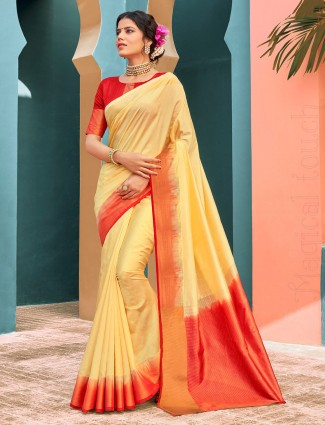 Yellow cotton silk saree for festivals function