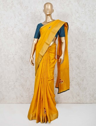 Yellow cotton silk saree for the wedding and festival
