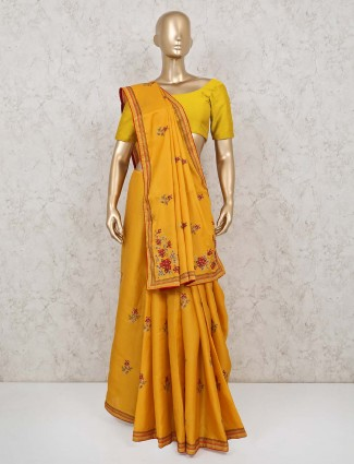 Yellow cotton silk wedding days saree