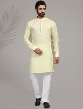 Yellow cotton stand collar classic kurta suit