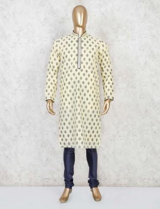Yellow cotton stand collar kurta suit festive wear
