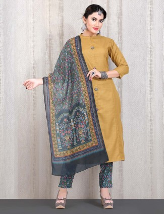 Yellow cotton straight cut punjabi suit with printed dupatta