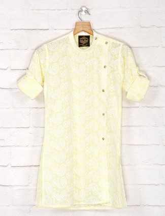 Yellow cotton thread weaving kurta suit