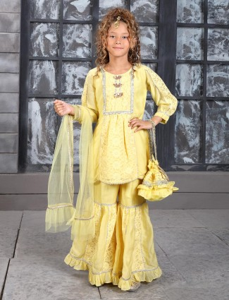 Yellow cotton wedding punjabi sharara suit