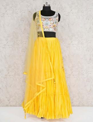 Yellow cotton wedding round neck lehenga choli