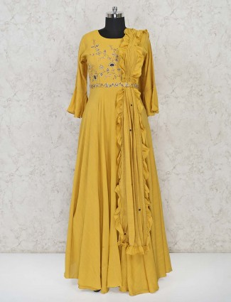 Yellow cotton wedding wear anarkali suit
