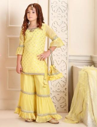 Yellow cotton wedding wear punjabi sharara suit