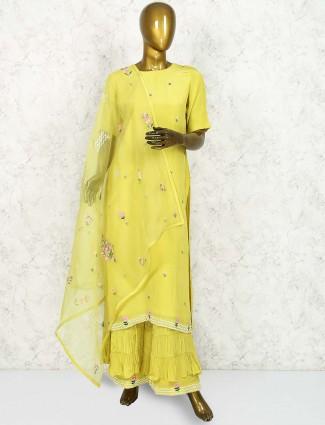 Yellow crepe silk punjabi sharara suit