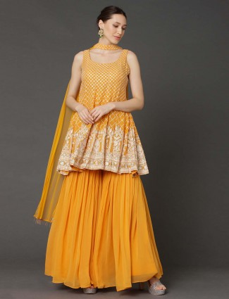 Yellow cutdana,sequins work punjabi sharara suit