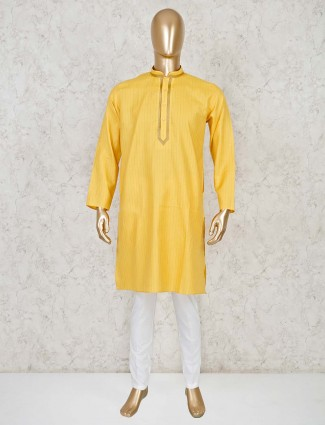 Yellow design cotton festive kurta suit