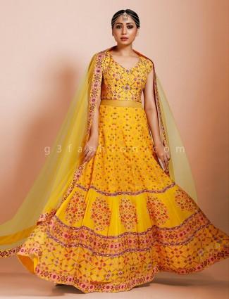 Yellow designer georgette floor length anarkali suit in wedding