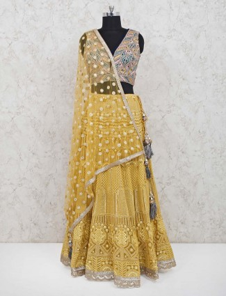 Yellow designer georgette wedding lehenga choli