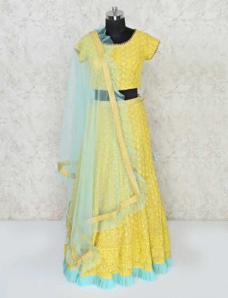 Yellow designer lehenga choli for haldi