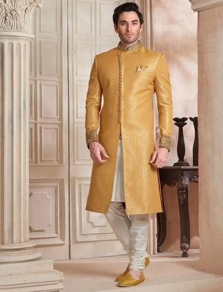 Yellow designer wedding wear sherwani