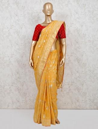 Yellow dola silk haldi function saree