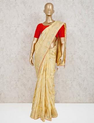 Yellow dola silk pretty saree for reception