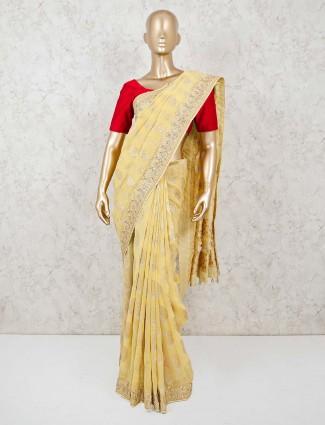 Yellow dola silk saree with gota work border