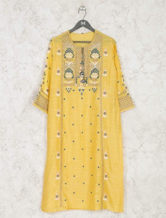 Yellow embrodiered kurti for festival in cotton