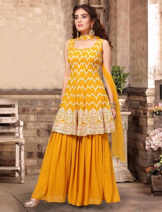 Yellow exclusive georgette punjabi palazzo suit