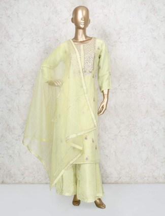 Yellow festive cotton silk punjabi palazzo suit