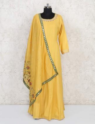 Yellow festive wear cotton floor length anarkali suit