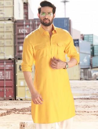 Yellow festive wear cotton pathani suit