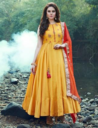 Yellow festive wear silk anarkali suit for wedding fuction