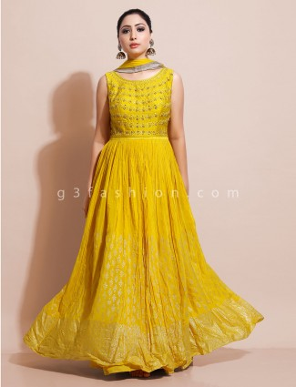 Yellow floor length anarkali with odhani in cotton