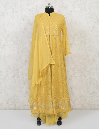 Yellow georgette anarkali suit special for wedding