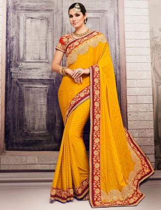 Yellow georgette dressy saree