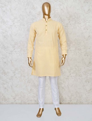Yellow georgette festive function kurta suit