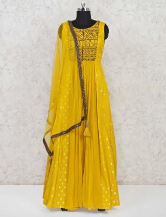 Yellow georgette festive wear anarkali suit