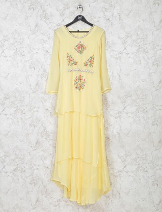 Yellow georgette festive wear kurti