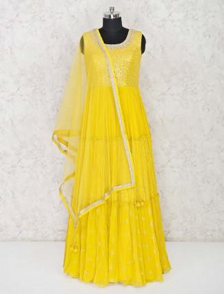 Yellow georgette floor length anarkali suit in wedding